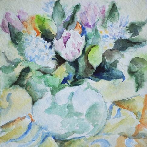 bouquet de fleurs, aquarelle