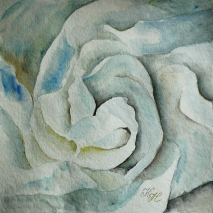 white flower in blue, watercolor