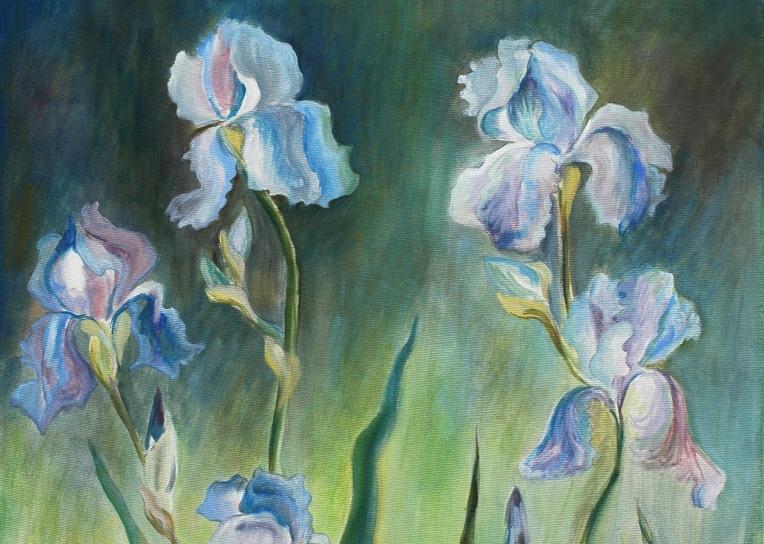 blue iris, oil on canvas