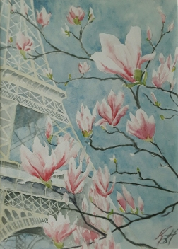 spring in Paris, watercolor 34 x 25 cm