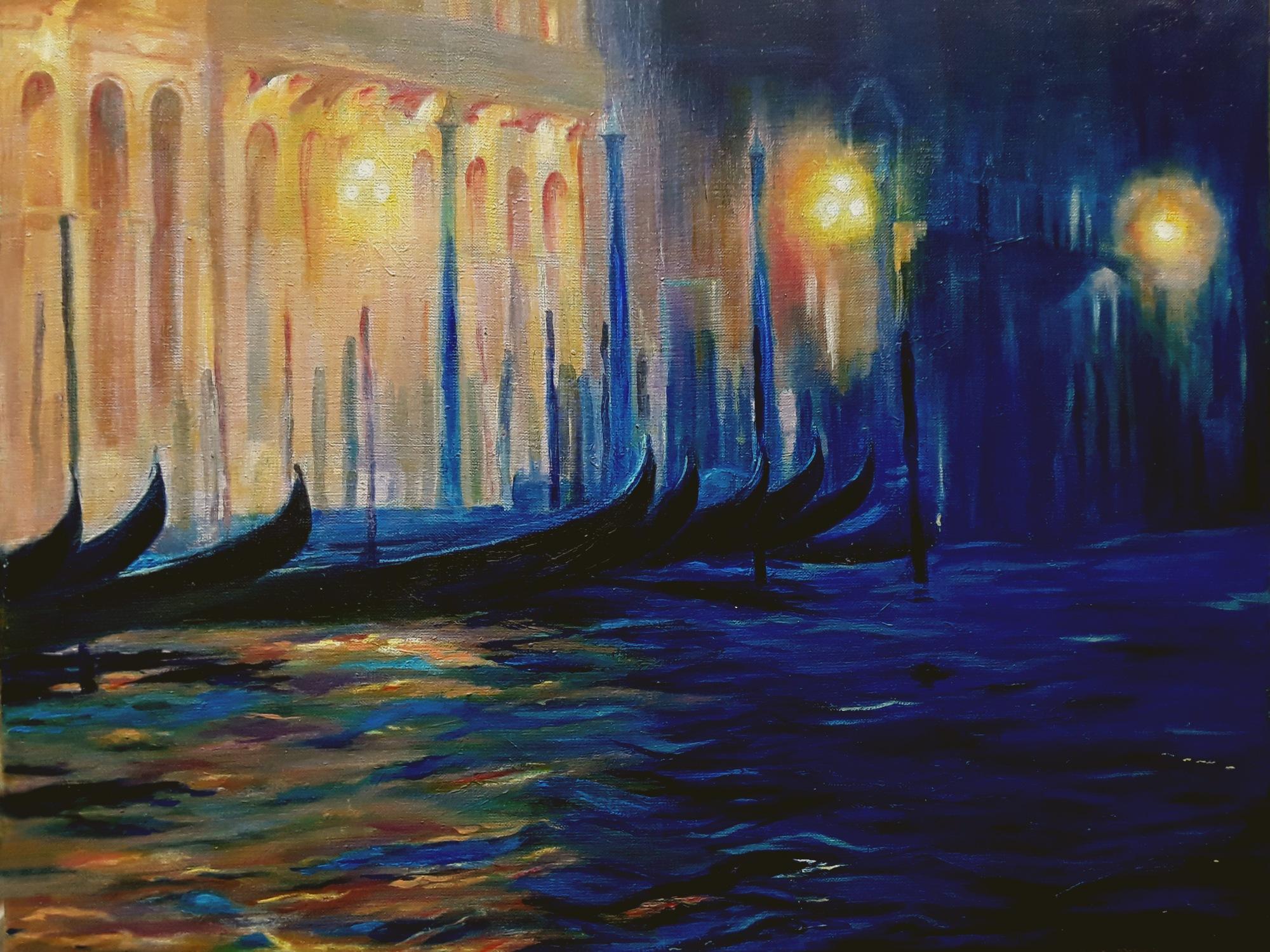 Lumieères à Venise, huile sur toile